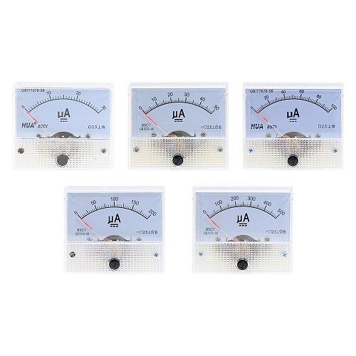 DC 85C1-UA Analog Current Meter 30uA 50uA 100uA 200uA 500uA  Analog Ammeter Panel Current AMP Meter Gauge Mechanical Amperemeter
