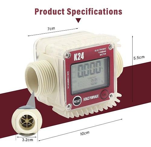 K24 LCD Digital Flow Meter Turbine Flowmeter Diesel Fuel Flow Meter 10-120L For Chemicals Water Sea Adjust Liquid Flow Meter