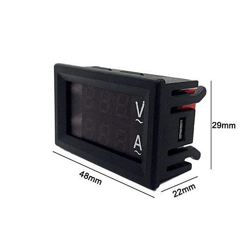 Volt Amp Meter AC 60-500V Voltmeter Ammeter 0.28in Inches LED Dual Display 2 in1 Voltage Amperage Gauge with Current Transformer