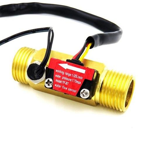 G1/2 Water flow sensor Hall flowmeter with temperature detection Metal copper shell flowmeter turbine flow meter Copper sensor
