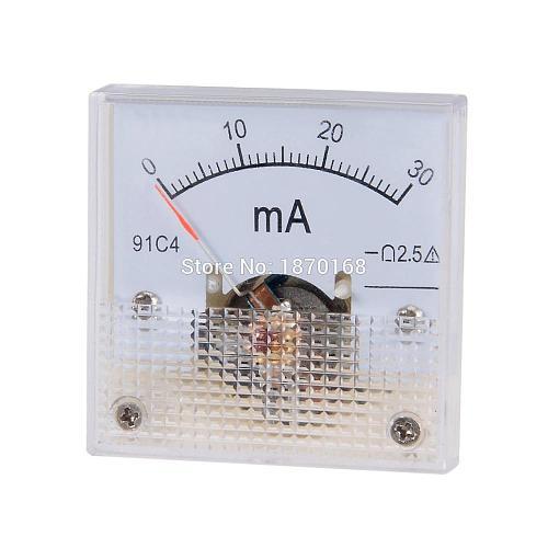 DC 1A 2A 3A 5A 10A 15A 20A 30A 50A 100A/20/30/50/100/200/300/500mA Analog Ammeter Panel AMP Current Meter Gauge 91C4 45*45MM
