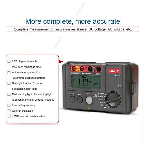 UNI-T UT501A 1000V Insulation Earth Ground Resistance Meter Megger Auto Range Ohm Tester Megohmmeter VoltmeterTester