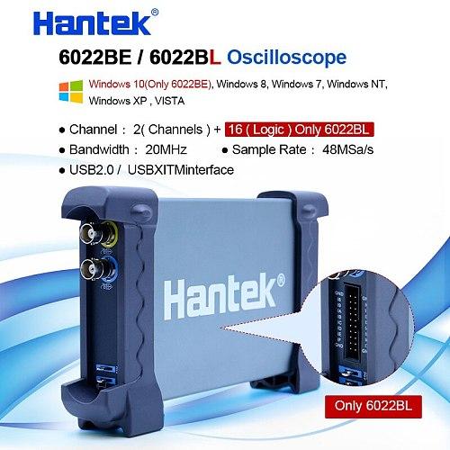 Hantek USB oscilloscope 2 CH 20MHz 48MSa/s digital pc Oscilloscope 6022BE 6022BL +16 Channels Logic Analyzer 50/80/100/200 MHZ