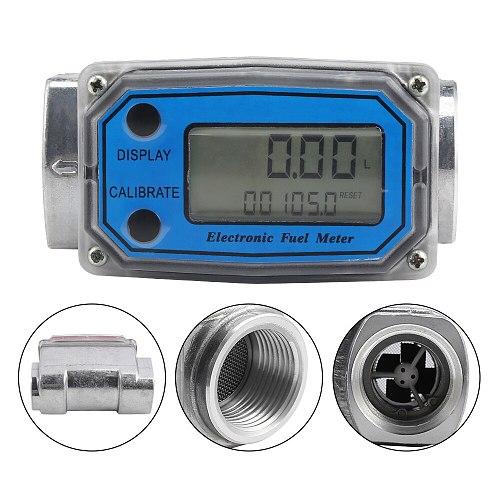 LLW-25 LCD Digital Flow Meter Turbine Flowmeter Diesel Fuel Flow Meter 10-120L For Chemicals Water Sea Adjust Liquid Flow Meter