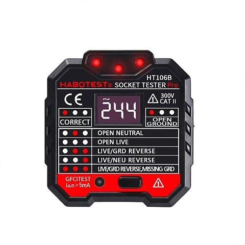 Digital Display Socket Tester Electric Circuit Polarity Phase Voltage Detector Wall EU US UK Plug Breaker Finder Outlet Tester