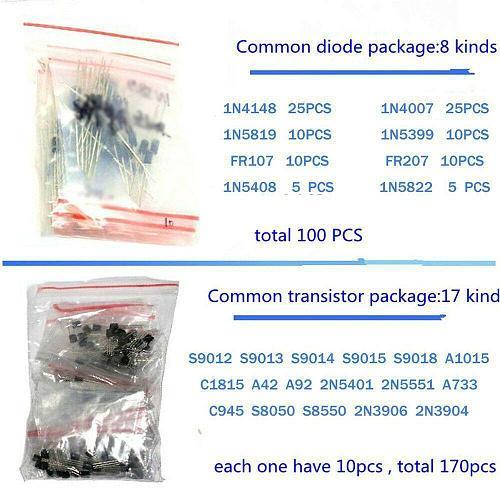 1390pcs Electronic Components Basic Starter Kit LED Diode Transistor Capacitor Resistance Potentiometer Kit