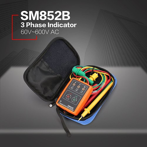 New SM852B 3 Phase Rotation Tester Digital Phase Indicator Detector LED Buzzer Phase Sequence Meter Voltage Tester 60V~600V AC