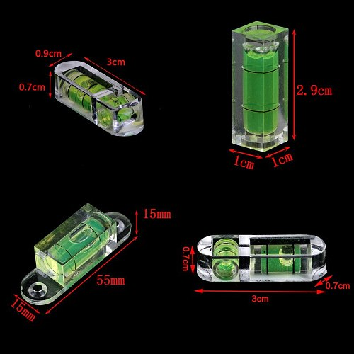 One Or 2pcs Mini Spirit Level Measurement Instrument T-type Round Square Spirit Level Bubble 9 Styles With Keychain