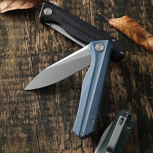 Petrified fish new 818 folding knife G10 handle D2 bearing tactical Pocket knives outdoor self-defense hunting cutter EDC tools
