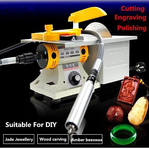 Multifunction Mini Table Saw Stone Polisher Jade Engraving Machine Grinding Polishing machine Jade Cutting machine 220V