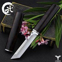 LENGREN D2 steel Japanese mirror knife, 58 60HRC vacuum heat treatment sharp camping hunting knife series (Samurai style)