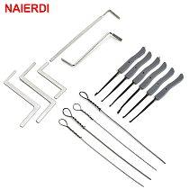 NAIERDI 15pcs Lock Pick Set Broken Key Extractor Set Locksmith Supplies Hand Tool Key Remove Removal Hooks Furniture Hardware