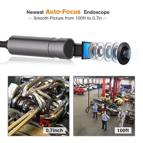 Newest 5.0MP usb Endoscope Camera Autofocus 2cm-50m IP67 1080P HD Inspection Camera Snake Semi-Rigid For Android pc Endoscope