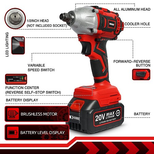 WOSAI MT Series Electric Impact Wrench Drill 20V Brushless Wrench Li-ion Battery Cordless Wrench Socket Installation Power Tools