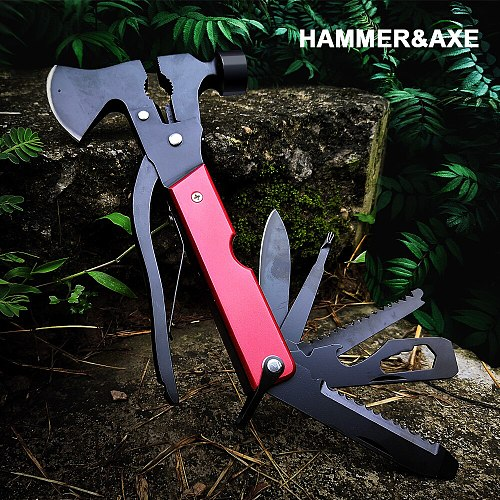 Outdoor Camping Wild Axe Multi Tools Heavy Duty Twin Axe/Hammer Hatchet Folding Knife Survival Multifunctional Tool Machete
