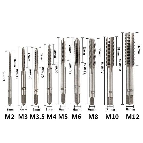 3pcs M2 M2.5 M3 M3.5 M4 M5 M6 M8 M10 M12 Metric Thread Taps HSS Screw Tap Drill Bit Set Straight Flute Plug Taps Hand Tools