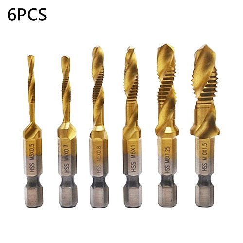 6pcs M3 M4 M5 M6 M8 M10 HSS Drill Bit Tap HSS Drill Bits Metric Thread Spiral Screw1/4  Hex Shank Bits Set Power Tools