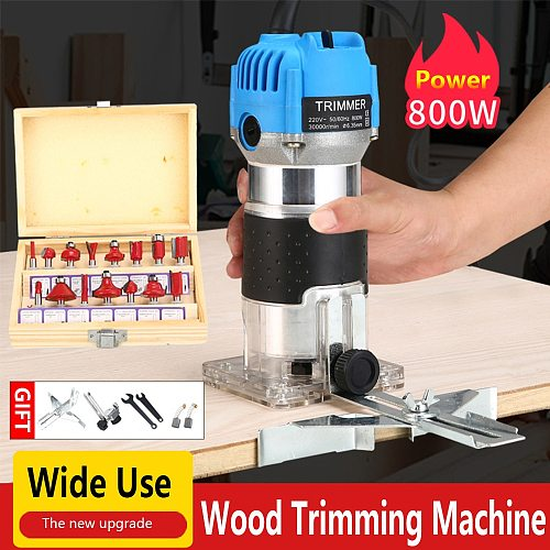 Electric Hand Trimmer Router Wood Carving Machine With Carrying Case Woodworking Wood Milling Slotting Machine Power Tools800W