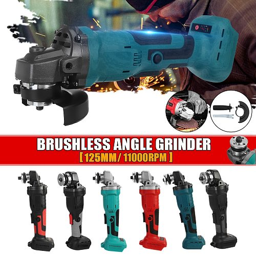 800W 18V Brushless Cordless Impact Angle Grinder 125mm Home DIY Power Tool Cutting Grinding Machine Polisher for Makita Battery