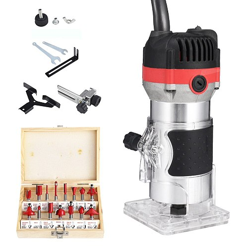 1200W 6.35mm Wood Router Electric Trimmer Engraving Slotting Trimming Wood Milling Machine With Milling Cutter Woodworking