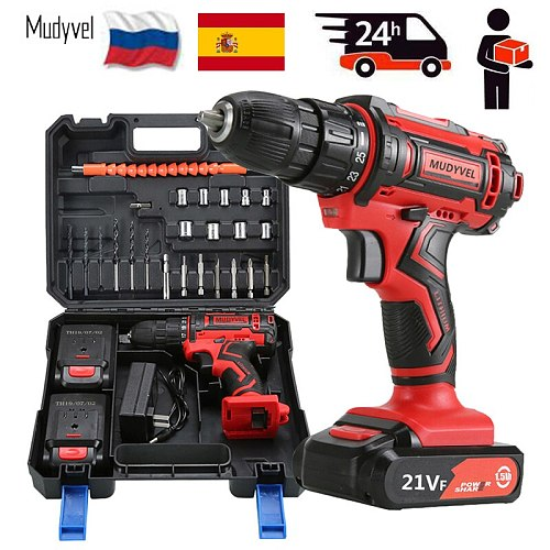 Cordless Electric Drill Mini 12V 16.8V 21V Rechargeable Battery Power Tools 3/8-Inch 2 speed With toolbox Cordless Screwdriver