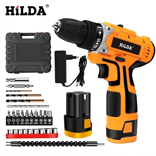 HILDA 16.8V Electric Drill Electric Screwdriver Rechargeable Lithium Battery Cordless Screwdriver Two-speed Power Tools