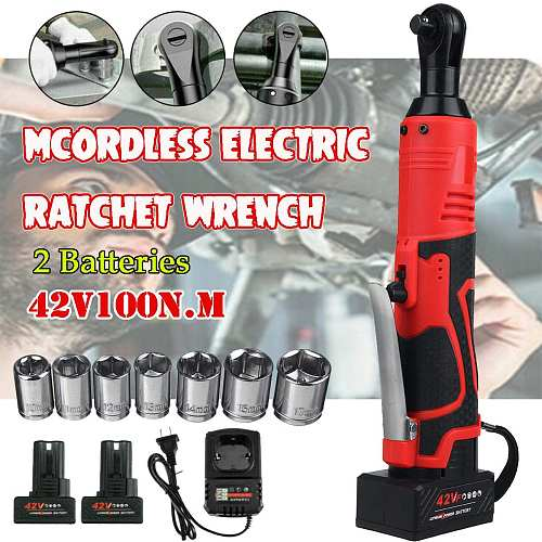 42V Cordless Ratchet Electric Wrench 3/8  with 2 Lithium-Ion Battery Sleeve Set Scaffolding 90N.m Right Angle Drill Screwdriver