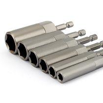 6Pcs 6mm-17mm 80mm Length Extra Deep Bolt Nut Bit Set Metric 1/4 6.35mm Hex Shank Impact Socket Adapter For Power Tools
