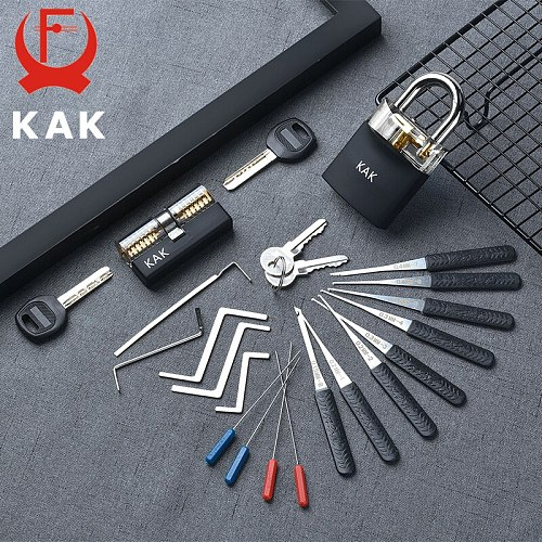 KAK Practice Padlock with Keys Transparent Visible Lock Pick Broken Key Removing Hook Kit Extractor Set Locksmith Wrench Tool
