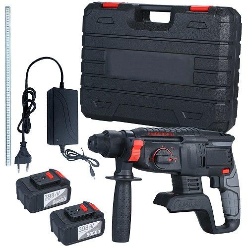 21V Brushless Heavy Duty 4 Function Rotary Hammer Drill SDS-plus Adjustabl Grip Handle 980 RPM Cordless Drill Demolition Kit