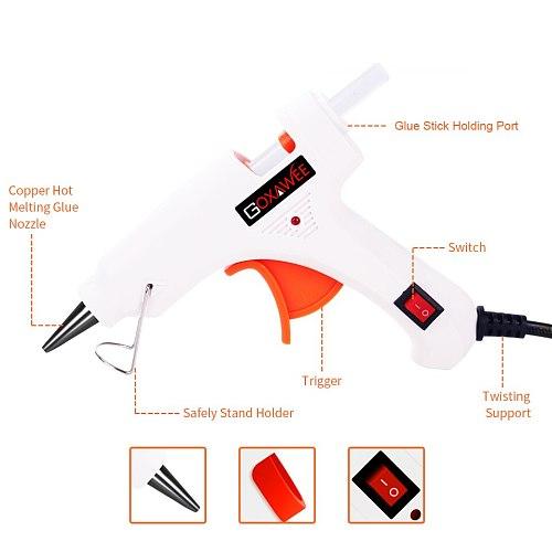 GOXAWEE Hot Glue Gun Heat Silicone Gun Crafts Repair Tools Kit 34pcs Professional High Temp Mini Electric Heat Glue Gun DIY Tool