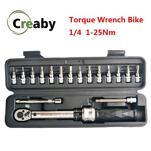 Professional Preset Torque Wrench Set 1/4  1-25Nm Bicycle Tool Kits Bike Repair Spanner Hand Tools High Precision 3% Industrial