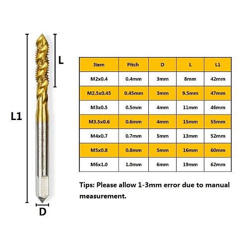 1pc Metric Thread Tap M2-M8 High Speed Steel 6542 Screw Tap Drill TiN Coating Spiral Machine Tap
