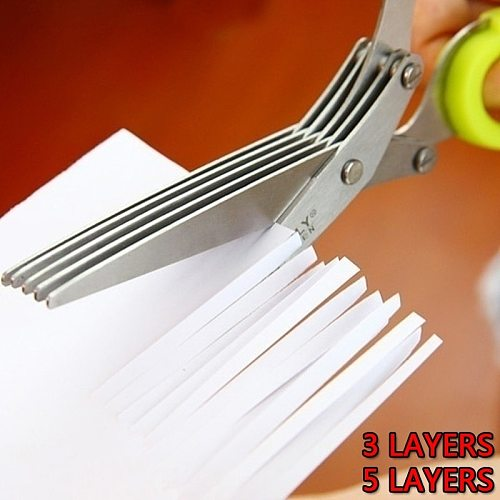 Multi-functional Stainless Steel 3/5 Layer Kitchen Scissors Pepper Shredded Chopped Scallion Cutter Laver Cut Cooking Tool