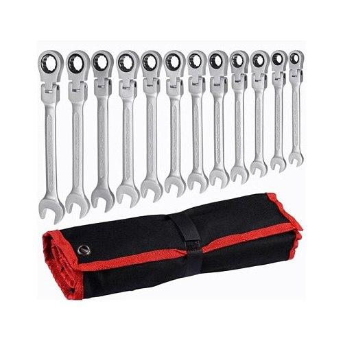 YOFE 8-19 Metric ratchet wrench spanners set of keys Chromium vanadium steel Head Flexible wrench hand tools Car Repair Tools