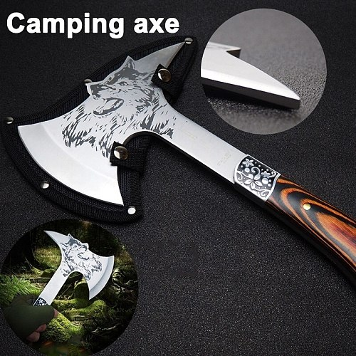 12 Inches Camping Hatchet Wolf Head Survival Tactical Axe with Spike and Nylon Sheath for Outdoor Hunting Camping