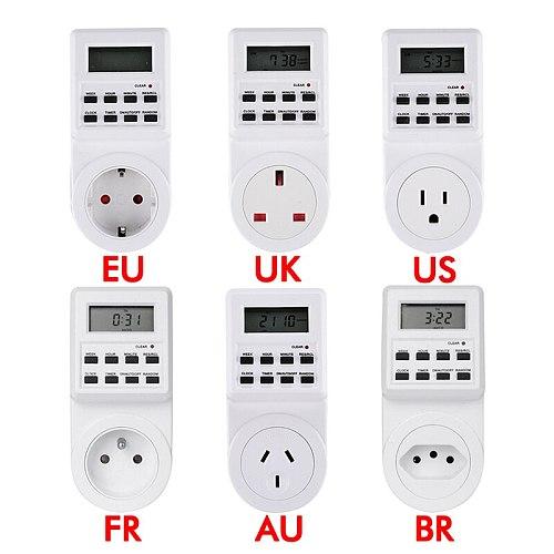 Electronic Digital Timer Switch Socket 24 Hour Cyclic EU UK AU US BR FR Plug Kitchen Timer Outlet Programmable Timing Socket
