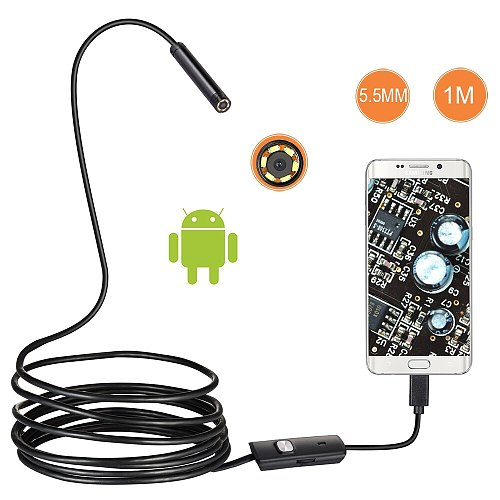 1m/2m/1.5m Waterproof Endoscope Mini HD Camera Snake Tube 5.5 mm Lens USB Inspection LED Borescopefor Android Phone PC