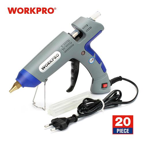WORKPRO 30W EU Plug High Temp Heater Melt Hot Glue Gun 20pcs 11mm Transparent Hot Melt Glue Sticks Professional Hot Silicone Gun