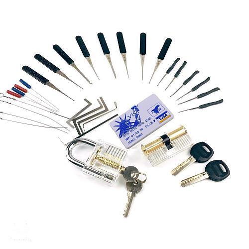 LockPick Set Practice Tools Combination,2pcs Transparent Locks with 22pcs Broken Key Remove Tool,Mini Card Tools,Tension Tools