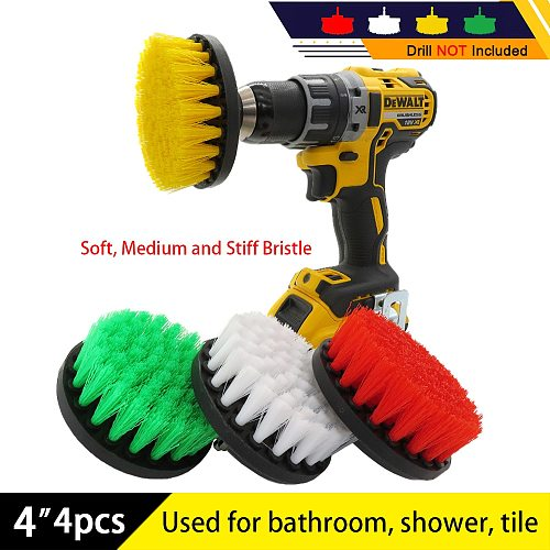 4pcs drill kit Electric Scrubber brush set Drill Brush for shower bathroom Car Leather Plastic Wooden Furniture Cleaning Kit
