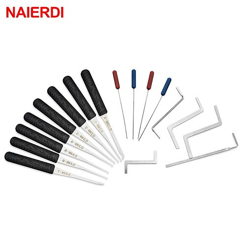 12PCS NAIERDI Lock Pick Set Locksmith Supplies Broken Key Auto Extractor Remove Hooks Stainless Steel DIY Hand Tools Hardware