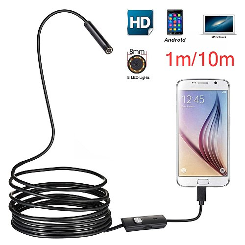 8MM Lens 1M/2M/5M/10M Hard Cable Android USB Endoscope Camera Led Light Borescopes Camera For PC Android Phone