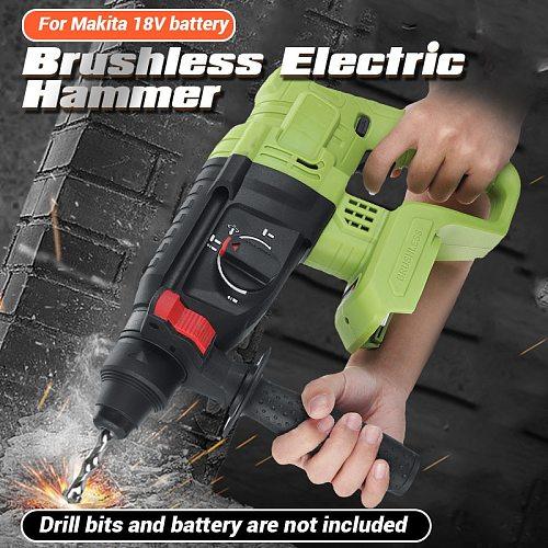 1200W Electric Hammer Brushless Cordless Hammer Drill Concrete Breaker Punch Jackhammer Power Drill Tool for Makita 18V battery