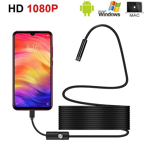 1080P HD Mini Android Endoscope Camera IP67 1920*1080 1M 2M 3.5M 5M Micro USB Inspection Video Camera Snake Borescope Tube