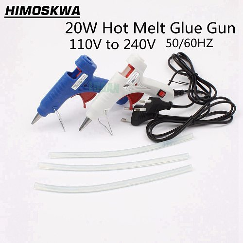 20W EU/US Plug Hot Melt Glue Gun with 3pc 20cm Industrial Thermo Heat Temperature Tool Blue white free shipping