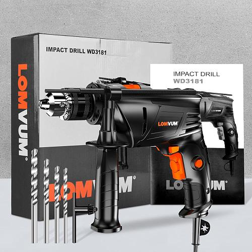 LOMVUM 810W Electric Hammer Home Power Tools Impact Drill AC Household Drill Multifunction Rotary Tool Longyun Drill Screwdriver