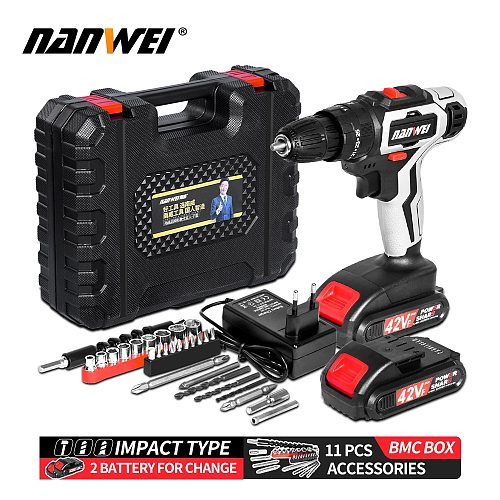 3-In-1 Electric Impact Drill Hammer Drill Electric Screwdriver Rechargable 10mm 2-Speed Cordless Drill
