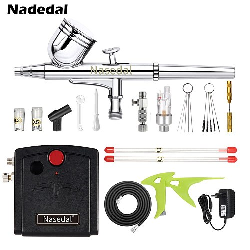 Nasedal Dual-Action Mini Airbrush Compressor Kit 0.3mm Air brush for Nail Art Cake Decoration Makeup Tattoo Model Car Paint