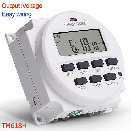 TM618H DC 12V 24V AC 110V 120V 220V 230V Volt Voltage Output Digital 7 Days Weekly Programmable Timer Switch Time Relay Control